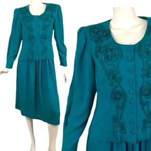 VTG 80's Skirt Top Set Turquoise 12 P Plaza South